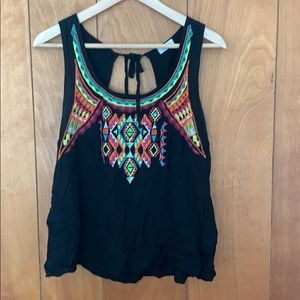 Embroidered openback tank